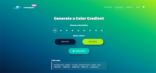 ColorSpace Gradient Color CSS Generator