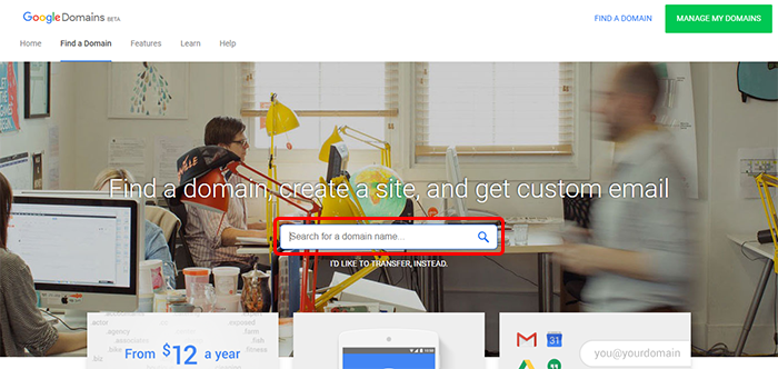 Google Domainsトップ