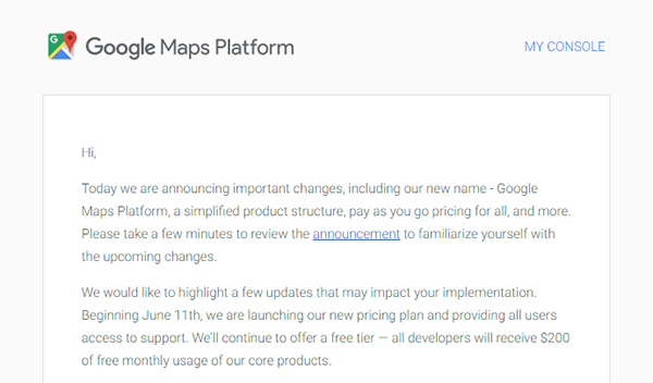 Google Maps Platformからのメール