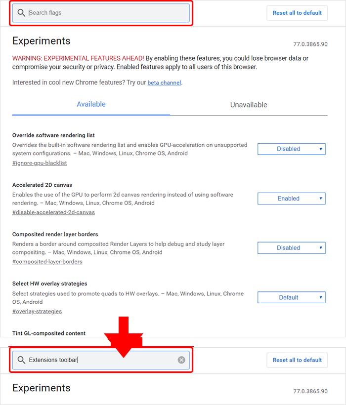 Extensions toolbar