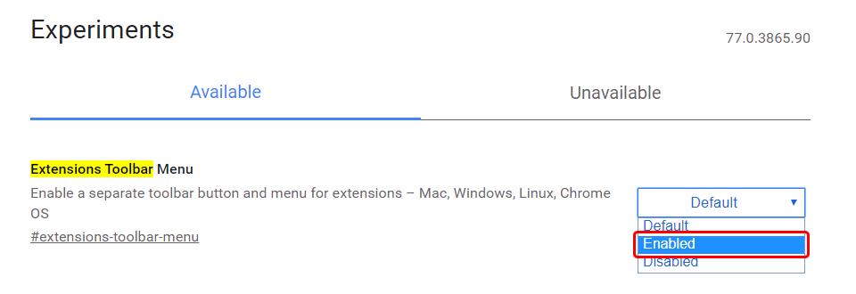Extensions Toolbar Menu
